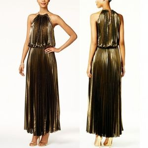 MSK Pleated Metallic Blouson Gown In Gold 16